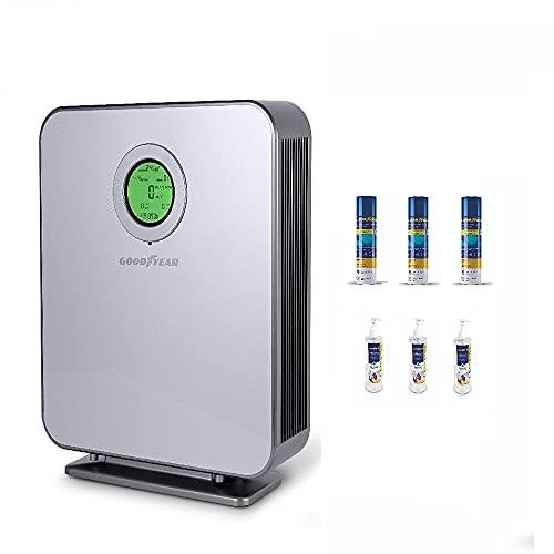 Goodyear purificador de Aire HEPA . 99,99 % eliminación de partículas hasta 88 m2. Incluye 3x Gel y 3x Spray Higienizantes. Filtro compacto 6 capas. Lámpara UV-C. 2 Ventiladores. Filtro H13. 220 m3/h.