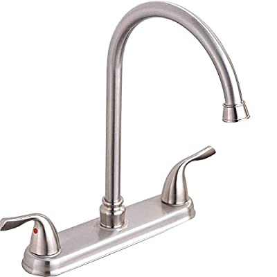 Hotis Commercial Stainless Steel Lead-Free Two Lever Two Hole Gooseneck High Arc Two Handle Kitchen Sink Faucet, Brushed Nickel Kitchen Faucet
