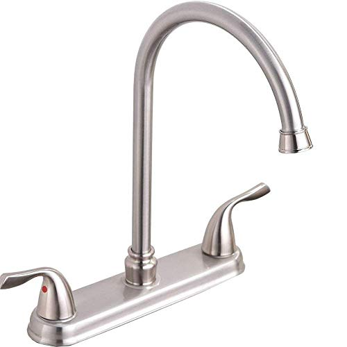 Fantastic Deal! Hotis Stainless Steel Lead-Free Two Handle Kitchen Faucet,Faucet Kitchen Brushed Nic...