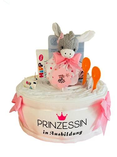 Windeltortenfee.de® - Windeltorte Schmusetuch Emmi mit Spruch-Mullwindel in rosa - inkl. 25 Windeln | Geschenk zur Geburt | Taufgeschenk | Geschenk zur Babyparty