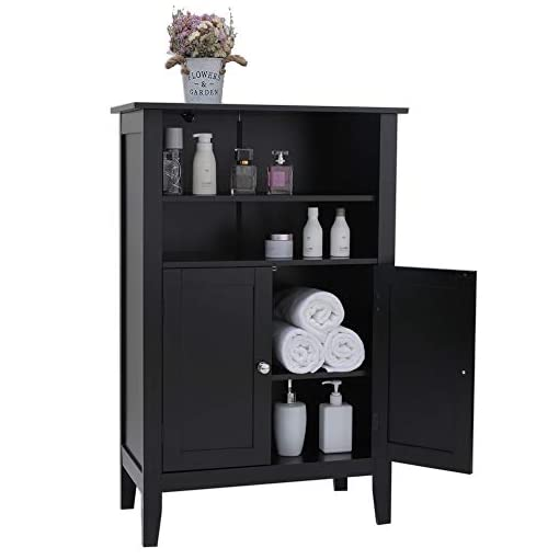 Iwell Bathroom Floor Cabinet With 2 Adjustable Shelf 6 Heights Available Storage Cabinet With 2 Doors Modern