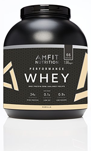 Amazon Brand- Amfit Nutrition Performance Whey Protein Powder from 100% Whey Isolate, Vanilla, 66 Servings, 1980 g