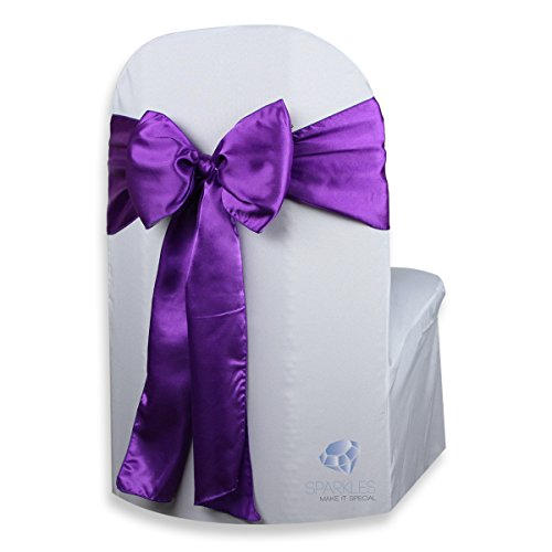 Sparkles Make It Special 50 pcs Satin Chair Cover Bow Sash - Purple - Wedding Party Banquet Reception - 28 Colors Available