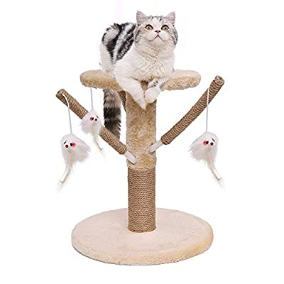 Famgizmo Cat Tree with Sisal Scratching Post, 35cm Stable Cat Tower with Dangling Toys, Kitten Activity Centre for Playing Relax and Sleep, Cat Furniture, Climbing Tower, Beige