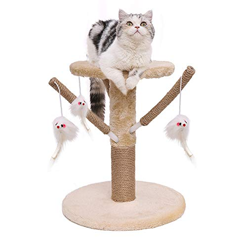 Famgizmo - Árbol para gato con poste de sisal, 35 cm, árbol para gatos, rascador de gatos, con juguetes colgantes, centro de actividades para gatito, muebles para gato, color beige