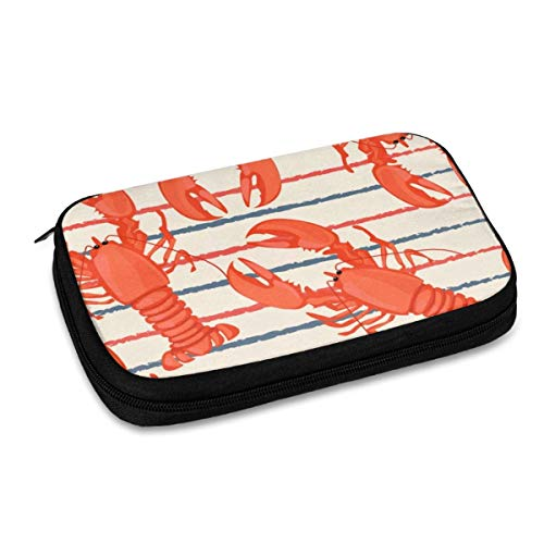 Electronics Organizer Lobsters Stripe Jelly Comb Electronic Accessories Cable Organizer Bag Travel Cable Storage Bag for Cables, Laptop Charger, Tablet (Up to 9.4'')