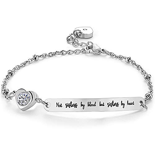 Gleamart Not Sisters by Blood But Sisters by Heart by Heart Inspirational Bracelet Adjustable Bangle Gift for Women 02