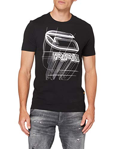 G-STAR RAW Mens Perspective Logo Graphic Slim T-Shirt, dk Black 336-6484, Medium