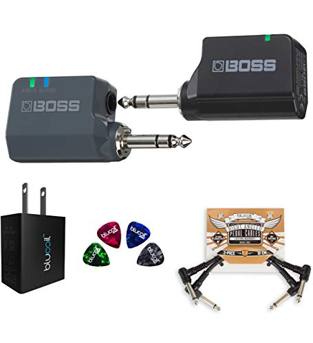 BOSS WL-20L 2.4 GHz Wireless Guitar System for Active Acoustic-Electric Guitars and Bass Bundle with Blucoil USB Wall Adapter, 2-Pack of Pedal Patch Cables, and 4-Pack of Celluloid Guitar Picks