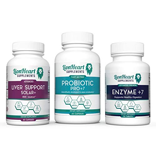 Gallbladder Support Kit - Digestive Enzymes Ox Bile, Probiotics & Liver Support Supplements - Milk Thistle For Detox & Cleanses. Pill Helps Constipation, Diarrhea, Bloating & Acid Reflux - Biles Salts