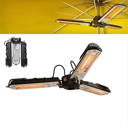 Calentador de jardín, Calentador de Patio eléctrico montado en sombrilla Plegable, Calentador de sombrilla de sombrilla de Patio eléctrico para pérgola o Gazabo, 220 V / 110 V,2