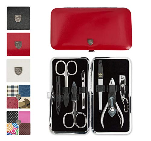 3 Swords Germany - brand quality 7 piece manicure pedicure grooming kit set for professional finger & toe nail care scissors clipper fashion leather case in gift box, Made by 3 Swords (0408)