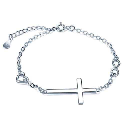Pulsera Mujer, Infinito U- Pulsera Cruz Plata de Ley 925, Conbinación de Cruz, Corazón y Símbolo del infinito, Longitud Ajustable