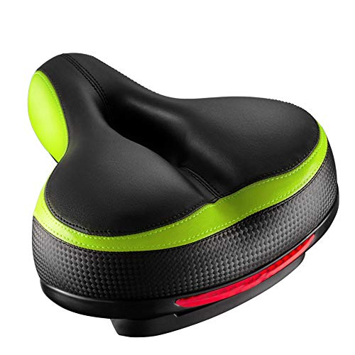 Roguoo Bike Seat, Most Comfortable Bicycle Seat Dual Shock Absorbing Memory Foam Waterproof Bicycle Saddle Bike Seat Replacement with Refective Tape for Mountain Bikes, Road Bikes