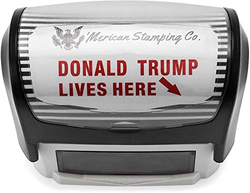 Donald Trump Lives Here Stamp by 'Merican Stamping Co. Self Inking Rubber Trump Stamp (Red Ink)
