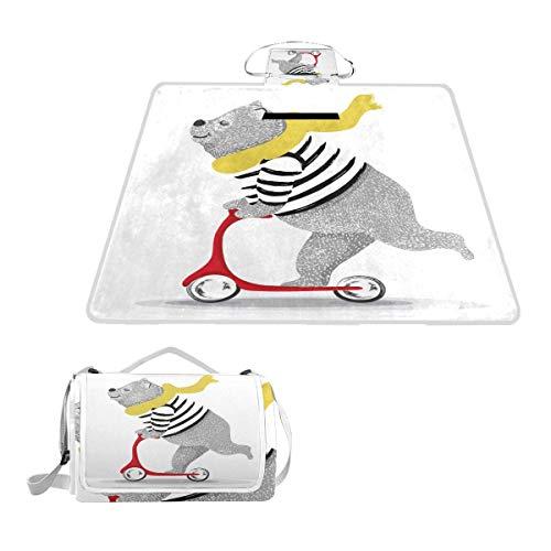 VAMIX Manta de Picnic Impermeable y Plegable,Cute Bear Scooter Vector Designanimal illustrationt PORTÁTIL Estera de Playa Alfombras Anti-Arena para Parque Campamento Conciertos,145*150cm