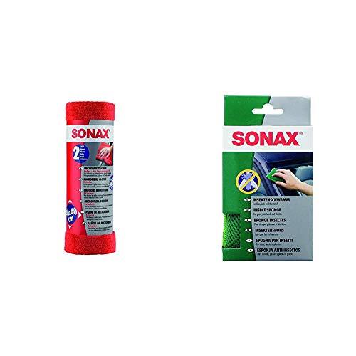SONAX MicrofaserTücher Außen - der Lackpflegeprofi (2 Stück) hochwertig und flauschig & InsektenSchwamm (1 Stück) zur Entfernung von Insekten und Anderen hart anhaftenden Verschmutzungen