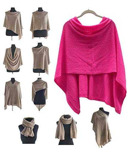 Poncho de cachemir para mujer, bufanda de viaje, chal con botones, de punto, pashmina, portátil, ligera, multisentido, 100% puro, regalo ético, color cereza brillante rosa