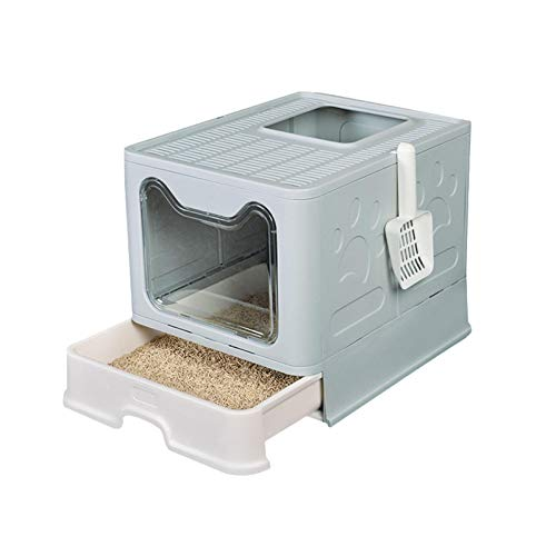 Ishine Cajas de arena para gatos para orinal de gato, plegable, antisalpicaduras,...