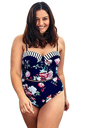 CUPSHE Women's Plus Size One Piece Swimsuit Floral Halter Push Up Bikini, 0X