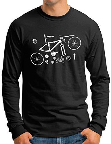 OM3® Mountain-Bike-Parts Langarm Shirt | Herren | MTB Bicycle Fahrrad Radsport Radfahrer | Schwarz, L