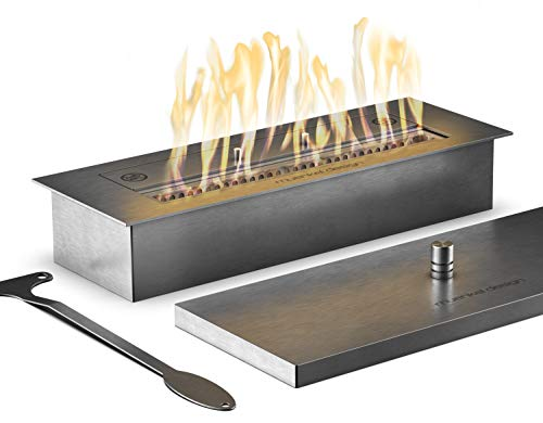 muenkel design Safety Burner 450 – manueller Brenner Einsatz – Bio-Ethanol Brennkammer mit 32 cm Flammenbreite – Edelstahl, gebürstet