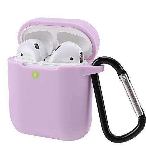 Airpods Schutzhülle Hülle Kompatibel mit AirPods 2 & 1, KOKOKA Silikon AirPods Schutzhülle hülle [LED an der Frontseite Sichtbar][Stoßfeste Schutzhülle] Lavendel