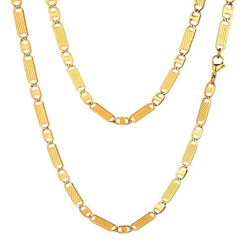 FOCALOOK Herren Marina Kette Halskette 5mm massiv Edelstahl Gliederkette Halskette goldfarben für Männer Jungen Punk Hip Hop Rapper Halsschmuck 65cm/26(Gold)
