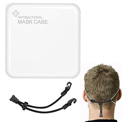 Organizador Caja de Máscara, Portátil Bolsa Almacenamiento Mascarillas (1PCS) + Extensores Correa Máscara (1PCS) Reutilizable Estuches Almacenaje para La Prevención La Contaminación de Mascari