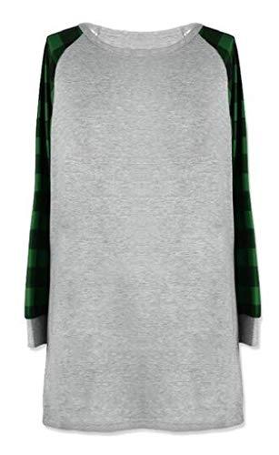 MOUTEN Women's T-Shirt Loose Plus Size Plaid Comfy Mid Length Long Sleeve Blouse Top Green 3XL