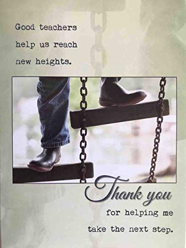 Tarjeta de agradecimiento a profesor con texto en inglés «Thank You Teacher for Helping Me Take The Next Step»