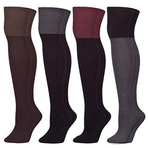 Essential Black Over Knee Thigh High Socks Boots Socks Leg Warmer (Onesize, 3 Pairs)