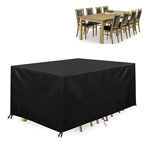 SSAWcasa Waterproof Garden Furniture Covers, 600D Heavy Duty Oxford Fabric Rattan Furniture Covers, Air Vent, Windproof, Anti-UV, Moisture-proof furniture covers for Patio, Outdoor(200x160x70cm) Black