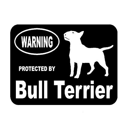 SSOBathroom 2pcs Car Stickers Protected By Bull Terrier Protected Animal,Black Vinyl Car Sticker Decal,With Reflective Car Stickers For Tablet Sticker,Wall Sticker,Laptop