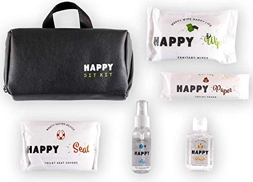 Happy Sit Kit - All in one public restroom survival kit - Includes Baby Wipes, Hand Sanitizer, Air Freshener, Toilet Paper, Toilet Seat Covers, Mirror & peace of mind