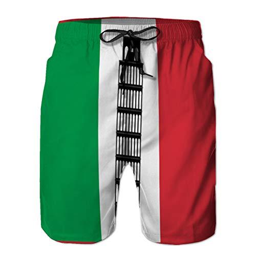qianfengdamaoyi 292 Shorts de Playa para Hombre, baador clsico Informal, Torre de Pisa en el Fondo de la Bandera de Italia