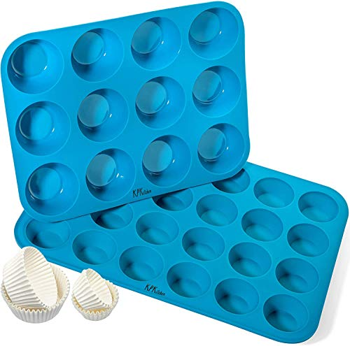 KPKitchen Silicone Cupcake Pan & Silicone Mini Muffin Pan Set - Silicone Muffin Pans for Baking - Nonstick Silicon Muffin Molds & 24 Mini Muffin Tin