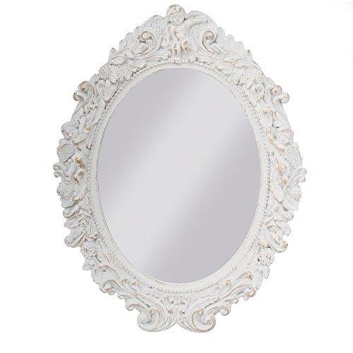 elbmöbel Spiegel barock Wandspiegel oval mit Engel Badspiegel Vintage (Weiß, B43 x H50 x T5cm)