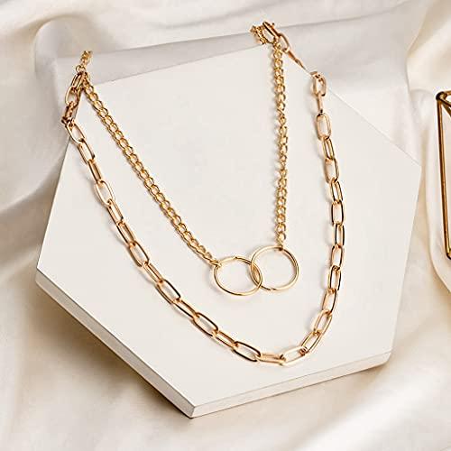 MIKUAU collarCollar de Gargantilla de Cadena de Perlas de Moda para Mujer, Collar de Cadena de Retrato con Cierre de círculo Dorado Vintage, joyería de Fiesta para Hombres y Mujeres