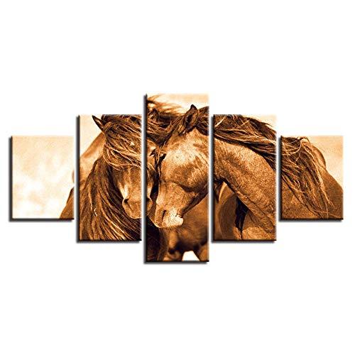 ZXYJJBCL Dos Caballos Apoyados El Uno En El Otro 5 Paneles De Pintura Artística Cuadros La Imagen para El Hogar Decoración Moderna Pieza Estirada por Marco De Madera