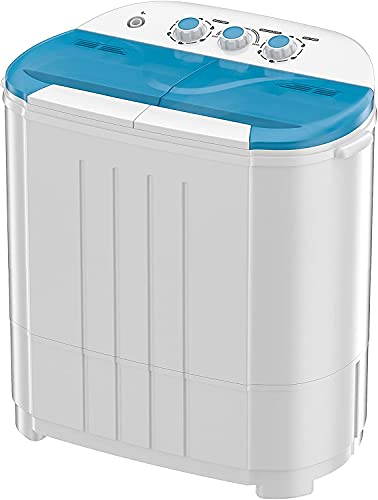 Auertech Portable Washing Machine, 14lbs Mini Twin Tub Washer Compact Laundry Machine Dryer with Built-in Gravity Drain Time Control, Semi-automatic 9lbs Washer 5lbs Spinner for Dorms, Apartments, RVs