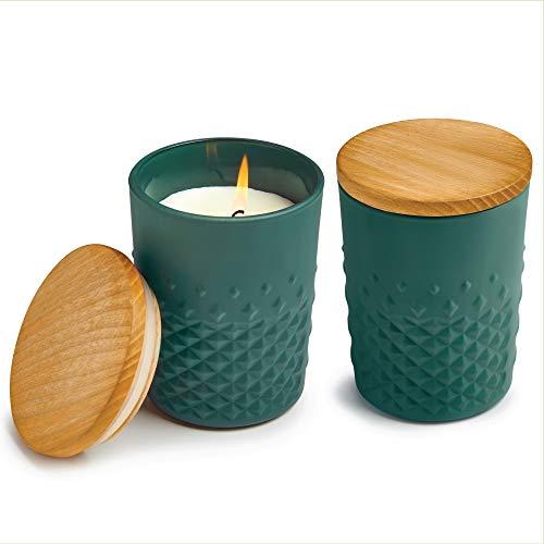 Vela aromática Rain Forest, serie Carats, marca Libbey – tapa de madera - Moderno - Verde - Set de 2 – Embalaje de regalo