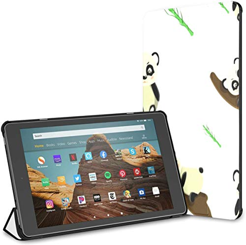 Case for All-New Amazon Fire Hd 10 Tablet (7th and 9th Generation,2017/2019 Release),Slim Folding Stand Cover with Auto Wake/Sleep for 10.1 Inch Tablet, Pattern Panda Rests On Tree Vector