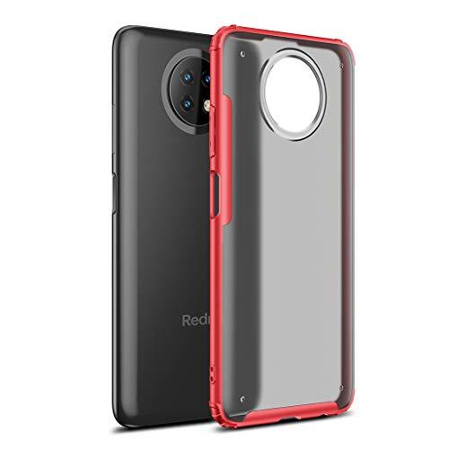 GOGME Funda para Xiaomi Redmi Note 9T 5G Estuche, [Tacto Sedoso Mate] Premium Silicona Ligera Delgado PC + TPU Bumper Espalda Transparente [Anti-Amarillo] Carcasa Rubber Shockproof Caso, Rojo