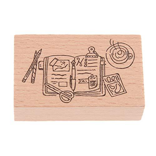 Hellery 1 stuk multivormen houten stempel voor doe-het-zelf dagboek scrapbooking kaarten maken - 04