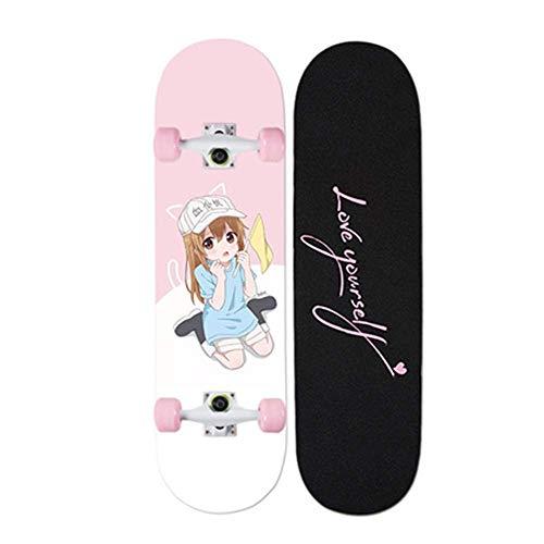 IDE Play Tavole Complete 31 Pollici X7.8 Doppiocalcio Trucco Skateboards Cruiser Penny Bambini Principianti Longboard Deck per Adulti Ragazze dei Ragazzi Skateboard,B