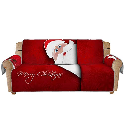 WElinks Christmas Sofa Couch Cover Santa Claus Pattern Decorative Sofa Slipcovers Christmas Decoration Furniture Cover Protector Stretch Sofa Cover Christmas Xmas Home Decor (for Two People)