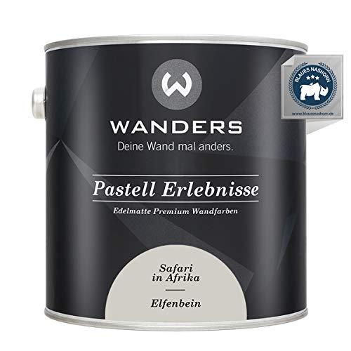 Wanders24® Pastell Erlebnisse (2,5 Liter, Elfenbein) edelmatte Wandfarbe - Feine Farben - in 40 Farbtönen - Wandfarbe Grau - Made in Germany