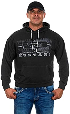 Men's Ford Mustang Pullover Hoodie Honeycomb Grill Charcoal Gray Sweatshirt (Medium, GRI4-charcoal Gray)