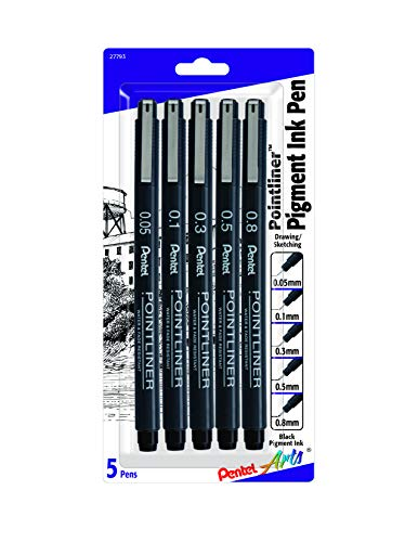 Pentel Arts Pointliner Drawing Pen, 5-Pack, Assorted Sizes, Black Ink (S20PBP5A)